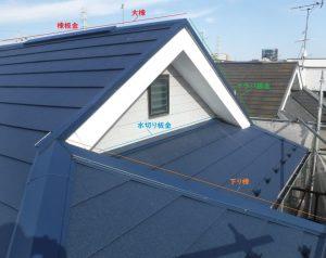 屋根の「棟板金」の写真