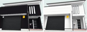 白黒の外壁シミュレーション